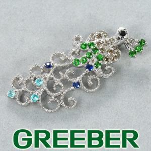 ガーネット ダイヤ ダイヤモンド サファイア パライバトルマリン 孔雀 クジャク ペンダントトップ K18WG GENJ 超大幅値下げ品 greeber01