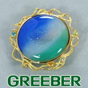 カルセドニー ダイヤ ダイヤモンド マルチカラーストン ブローチ兼ペンダントトップ K18YG ソーティング GENJ 超大幅値下げ品|greeber01