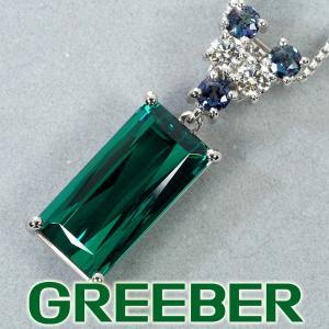 グリーントルマリン 4.34ct アレキサンドライト ダイヤ ダイヤモンド ネックレス Pt900/Pt850/プラチナ GENJ 超大幅値下げ品|greeber01