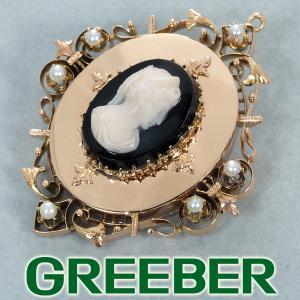 アンティーク カメオ オニキス パール ブローチ K10PG GENJ 超大幅値下げ品|greeber01