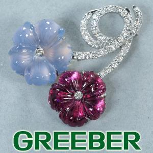 カルセドニー ピンクトルマリン ダイヤ ダイヤモンド 0.37ct フラワー ブローチ K18WG GENJ 超大幅値下げ品|greeber01