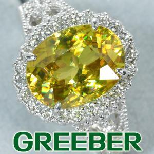 希少 スフェーン 3.69ct ダイヤ ダイヤモンド 0.31ct リング 指輪 Pt900/プラチナ GENJ 超大幅値下げ品|greeber01