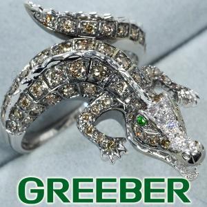 ダイヤ ダイヤモンド 0.95ct グリーンガーネット 0.02ct ワニ リング 指輪 K18WG GENJ 超大幅値下げ品 greeber01