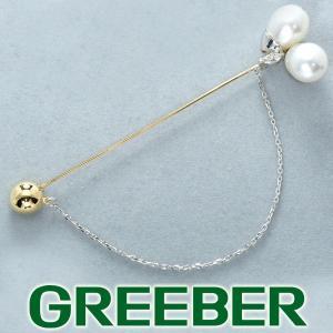 白蝶真珠 バロックパール ダイヤ ダイヤモンド 0.10ct ブローチ K18YG/Pt900/プラチナ GENJ|greeber01