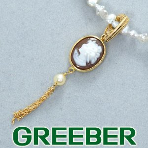 カメオ 真珠 ケシパール ネックレス シルバー/K18YG GENJ 超大幅値下げ品|greeber01