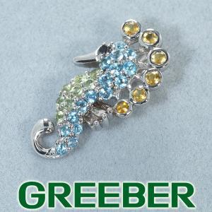 トパーズ ペリドット シトリン ダイヤ ダイヤモンド タツノオトシゴ ペンダントトップ K18WG GENJ|greeber01