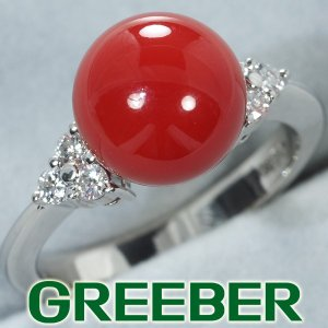 珊瑚 サンゴ ダイヤ ダイヤモンド 0.20ct リング 指輪 Pt900/プラチナ GENJ|greeber01