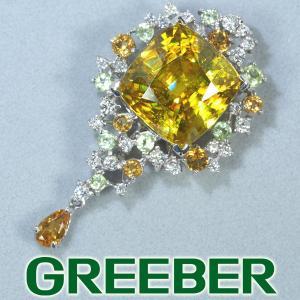 極上スフェーン 8.14ct シトリン ペリドット ダイヤ ダイヤモンド ペンダントトップ K18WG GENJ超大幅値下げ品|greeber01