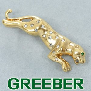 ダイヤ ダイヤモンド 0.18ct エメラルド 0.02ct パンサー ブローチ K18YG GENJ|greeber01