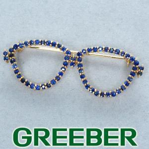 サファイア 1.64ct メガネ ブローチ K18YG GENJ|greeber01