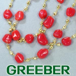 珊瑚 サンゴ ロングネックレス ステーション K18YG GENJ 超大幅値下げ品|greeber01