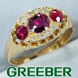 ルビー ダイヤ ダイヤモンド ヴィンテージ リング 指輪 K18YG GENJ  限界値下げ品|greeber01