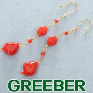QVC ピアス 珊瑚 サンゴ K18YG 保証書 BLJ/GENJ|greeber01