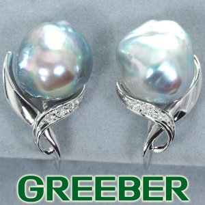 白蝶真珠 バロックパール ダイヤ ダイヤモンド イヤリング K18WG GENJ|greeber01