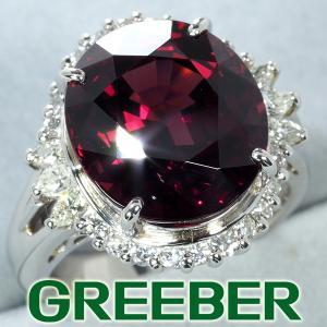 上質大粒 11.04ct ガーネット ダイヤ ダイヤモンド 0.65ct リング 指輪 Pm900 GENJ greeber01