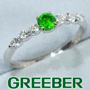 デマントイドガーネット 0.327ct ダイヤ ダイヤモンド 0.30ct リング 指輪 Pt900/プラチナ GENJ greeber01