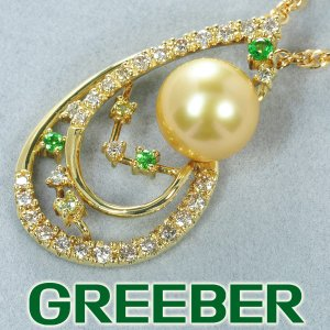 白蝶真珠 パール ダイヤ ダイヤモンド 0.34ct グリーンガーネット 0.09ct ネックレス K18YG GENJ greeber01