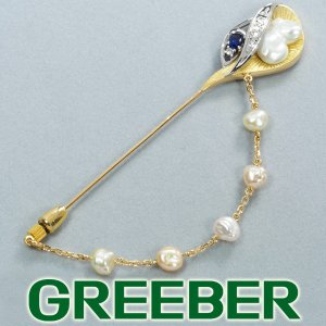 パール 真珠 8.53ct サファイア0.37ct ダイヤ ダイヤモンド ブローチ k18YG/Pt900/プラチナ GENJ|greeber01