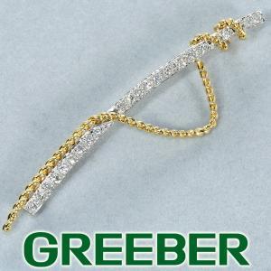 ダイヤ ダイヤモンド 0.54ct デザインブローチ K18YG/Pt900/プラチナ GENJ|greeber01
