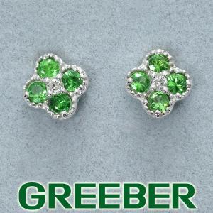 グリーンガーネット ダイヤ ダイヤモンド ピアス K18WG GENJ greeber01