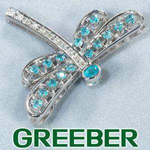 パライバトルマリン 0.67ct ダイヤ ダイヤモンド 0.08ct ブローチ トンボ K18WG GENJ|greeber01