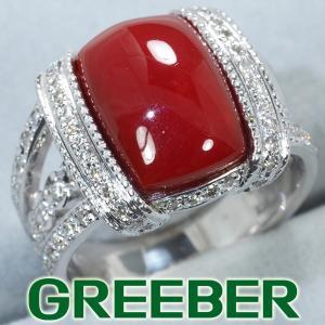 濃厚。血赤珊瑚 サンゴ ダイヤ ダイヤモンド 0.55ct リング 指輪 K18WG GENJ 超大幅値下げ品|greeber01