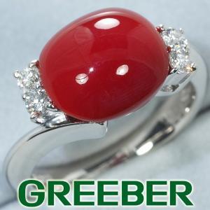 上質。血赤珊瑚 サンゴ ダイヤ ダイヤモンド 0.20ct リング 指輪 Pt900/プラチナ  GENJ|greeber01