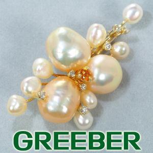 淡水真珠 パール シトリン ダイヤ ダイヤモンド 0.11ct ブローチ兼ペンダントトップ K18YG GENJ|greeber01