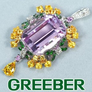 クンツァイト 11.58ct サファイア 1.69ct ダイヤ ダイヤモンド ガーネット ペンダントトップ K18YG/WG GENJ greeber01