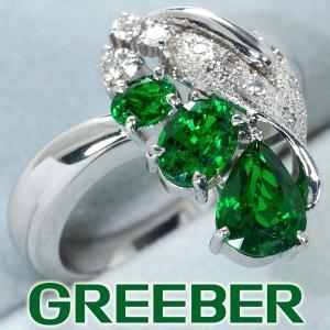 上質グリーンガーネット 1.66ct ダイヤ ダイヤモンド 0.16ct リング 指輪 K18WG GENJ greeber01