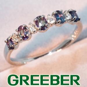 アレキサンドライト 0.43ct ダイヤ ダイヤモンド 0.12ct リング 指輪 K18WG GENJ 超大幅値下げ品|greeber01