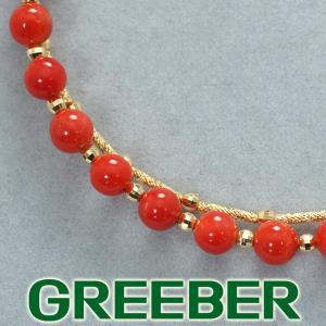 珊瑚 サンゴ ビーズ バングル ブレスレット K18YG GENJ|greeber01