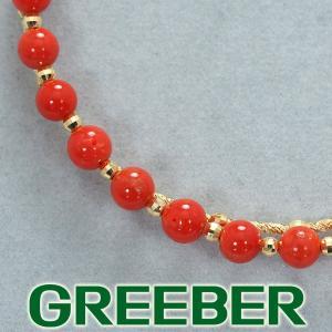 珊瑚 サンゴ ビーズ バングル ブレスレット K18YG GENJ 超大幅値下げ品|greeber01