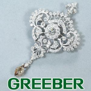 ダイヤ ダイヤモンド 1.35ct/0.322ct/2.15ct ブローチ兼ペンダントトップ ミルグレイン Pt900/プラチナ GENJ|greeber01