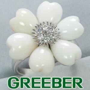 珊瑚 サンゴ ダイヤ ダイヤモンド 0.18ct フラワー リング 指輪 K18WG GENJ|greeber01