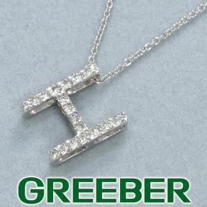ダイヤ ダイヤモンド 0.12ct イニシャル H ネックレス K18WG GENJ|greeber01