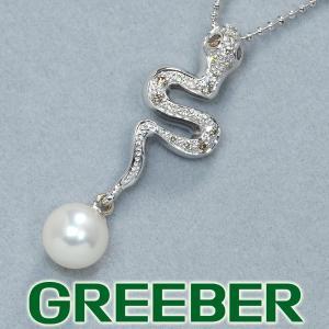 ダイヤ ダイヤモンド 0.20ct アコヤ真珠 パール 6.6mm珠 ヘビ スネーク ネックレス K18WG GENJ|greeber01