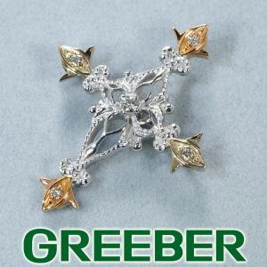QVC ペンダントトップ ダイヤ ダイヤモンド クロス K18YG/WG/PG 保証書 BLJ/GENJ|greeber01