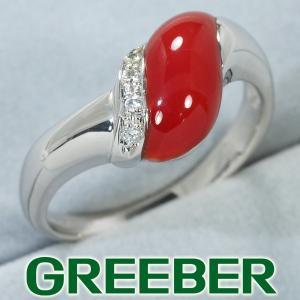 珊瑚 サンゴ ダイヤ ダイヤモンド 0.04ct リング 指輪 Pt900/プラチナ GENJ|greeber01
