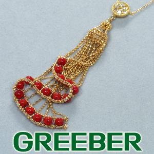 赤珊瑚 サンゴ ダイヤ ダイヤモンド 0.30ct ネックレス K18YG GENJ|greeber01