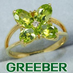 ペリドット ダイヤ ダイヤモンド フラワー リング 指輪 K18YG GENJ|greeber01