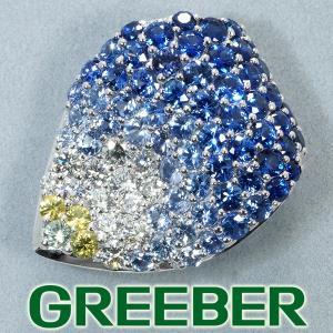 贅沢パヴェ サファイア 4.77ct ダイヤ ダイヤモンド 0.85ct 花弁デザイン ブローチ K18WG GENJ|greeber01