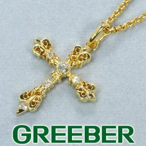 ダイヤ ダイヤモンド 0.09ct クロス ネックレス K18YG GENJ|greeber01