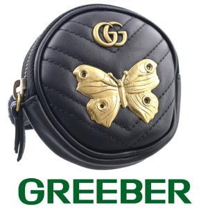 グッチ GGマーモント アニマルスタッズ バンドポーチ コインケース レザー ブラック BSK|greeber01