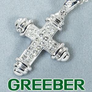 ダイヤ ダイヤモンド 0.50ct ミステリーセッティング クロス ネックレス K18WG/Pt850/プラチナ GENJ|greeber01