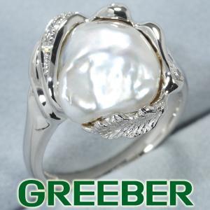 白蝶真珠 バロックパール ダイヤ ダイヤモンド 0.04ct  リング 指輪 Pt900/プラチナ GENJ|greeber01
