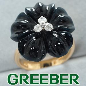 ダイヤ ダイヤモンド オニキス フラワー リング 指輪 K14YG GENJ|greeber01