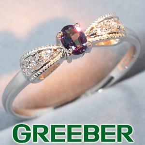 アレキサンドライト 0.15ct ダイヤ ダイヤモンド 0.07ct リボン リング 指輪 Pt900/プラチナ GENJ|greeber01