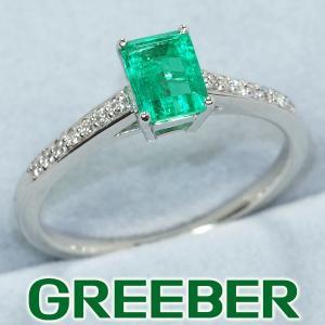 QVC リング 指輪 コロンビア産 エメラルド 0.50ct ダイヤ ダイヤモンド 0.08ct Pt950/プラチナ 保証書/鑑別書 BLJ/GENJ|greeber01