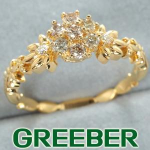 ダイヤ ダイヤモンド 0.32ct フラワー リング 指輪 K18YG GENJ|greeber01